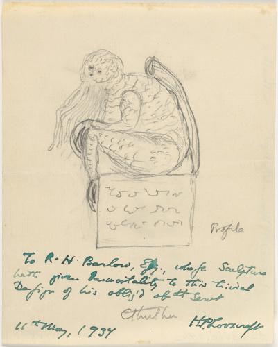 Карандашный рисунок Ктулху, выполненный Лавкрафтом 1934 г.