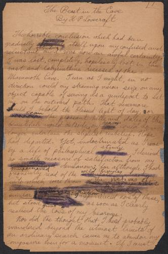 """Страница рукописи рассказа """"Тварь в подземелье"""" 1918 г."""
